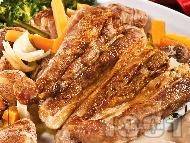 Свинско печено с кестени и броколи на фурна